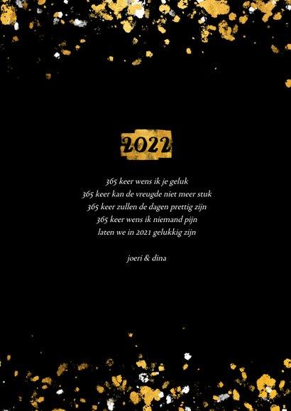 Nieuwjaarskaart foto's gouden vlak '2022' confetti 3