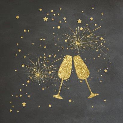 Nieuwjaarskaart goud krijtbord 2