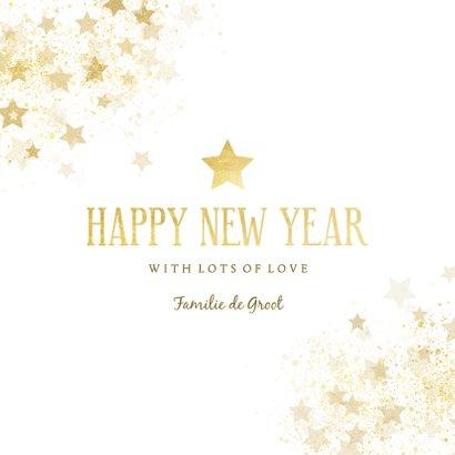 Nieuwjaarskaart gouden ster stijlvol Happy new Year 3