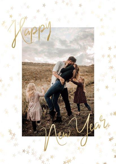 Nieuwjaarskaart gouden sterren, happy new year en foto 2