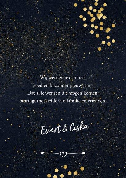 Nieuwjaarskaart gouden sterrenhemel 3