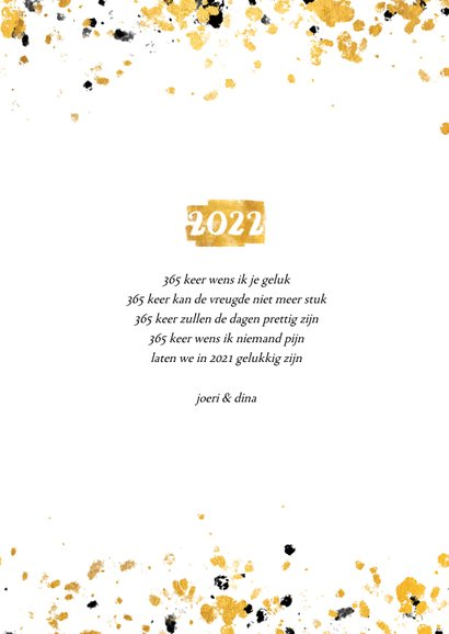 Nieuwjaarskaart gouden vlak '2022' confetti 3