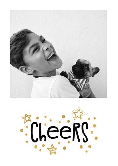 Nieuwjaarskaart goudlook 'cheers' met foto 2