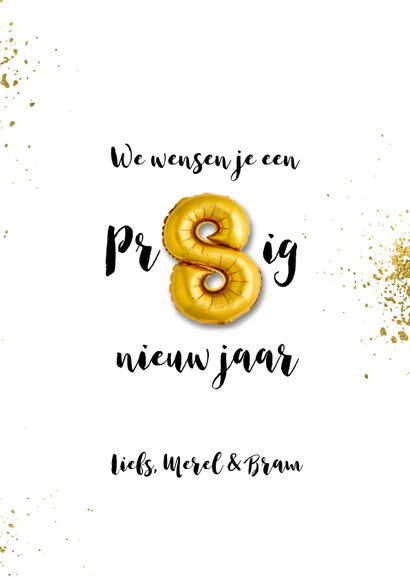 Nieuwjaarskaart goudspetters en ballonnen 3