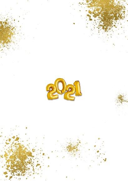 Nieuwjaarskaart goudspetters en ballonnen Achterkant