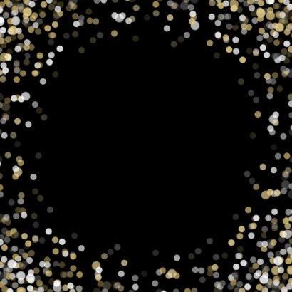 Nieuwjaarskaart grote foto Happy new Year confetti Achterkant