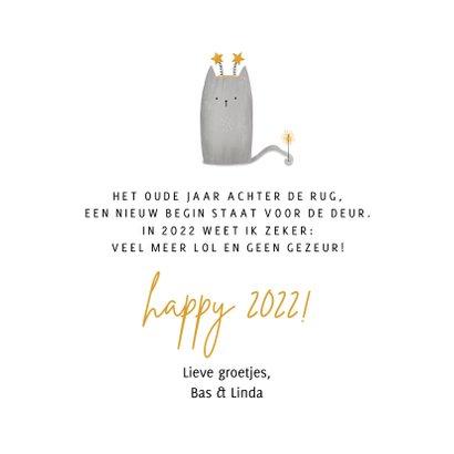 Nieuwjaarskaart happy meow year met foto en kat 3