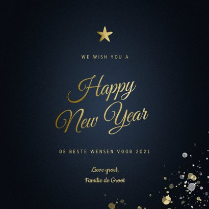 Nieuwjaarskaart Happy new Year klassiek met sterren 3