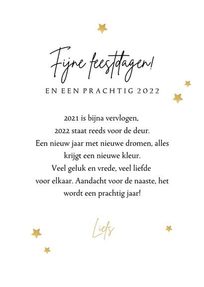Nieuwjaarskaart Hello 2022 slinger fotocollage sterren goud 3