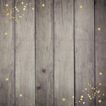 Nieuwjaarskaart hout 2021 typografie goudlook Achterkant