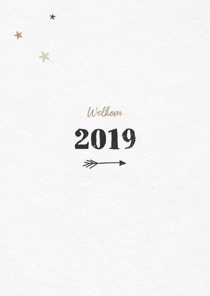 Nieuwjaarskaart houtlook met fotocollage en sterren 2