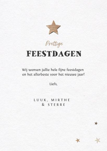 Nieuwjaarskaart houtlook met fotocollage en sterren 3