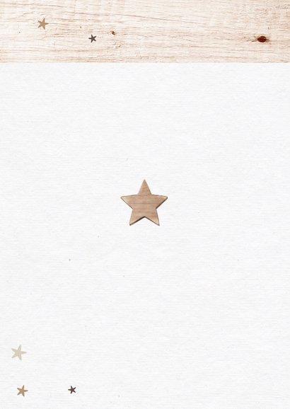 Nieuwjaarskaart houtlook met fotocollage en sterren Achterkant