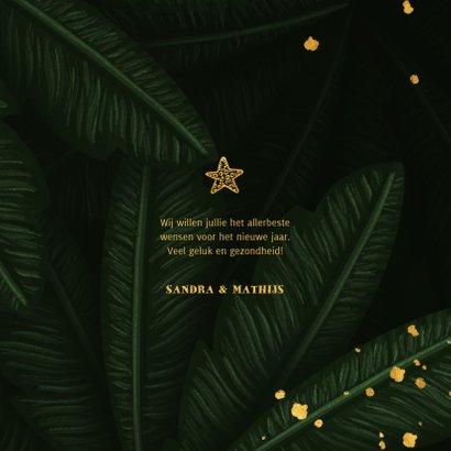 Nieuwjaarskaart jungle bladeren met gouden New Year 3