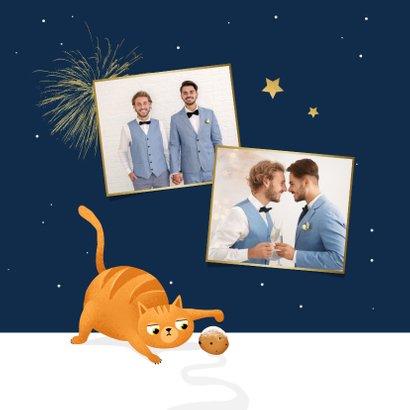 Nieuwjaarskaart kat oliebollen grappig 2021 kater sterren 2