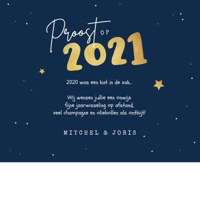 Nieuwjaarskaart kat oliebollen grappig 2021 kater sterren 3