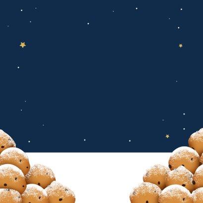 Nieuwjaarskaart kat oliebollen grappig 2021 kater sterren Achterkant