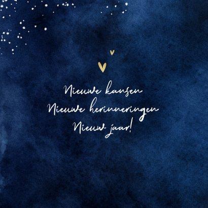 Nieuwjaarskaart lichtpuntjes sterren hartjes waterverf 2
