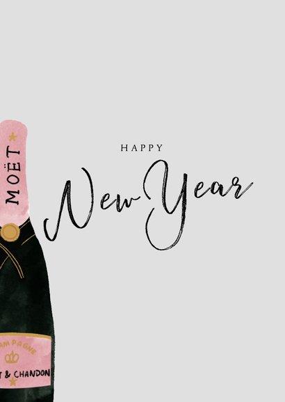 Nieuwjaarskaart met champagnefles en happy New Year 2