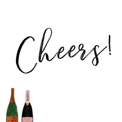 Nieuwjaarskaart met champagneflessen en cheers! 2