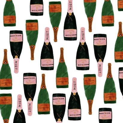Nieuwjaarskaart met champagneflessen en cheers! Achterkant