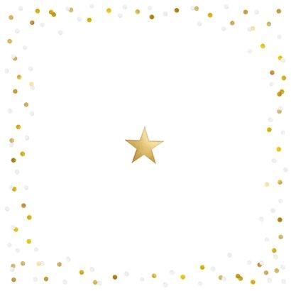 Nieuwjaarskaart met eigen foto, gouden 2021 en confetti Achterkant