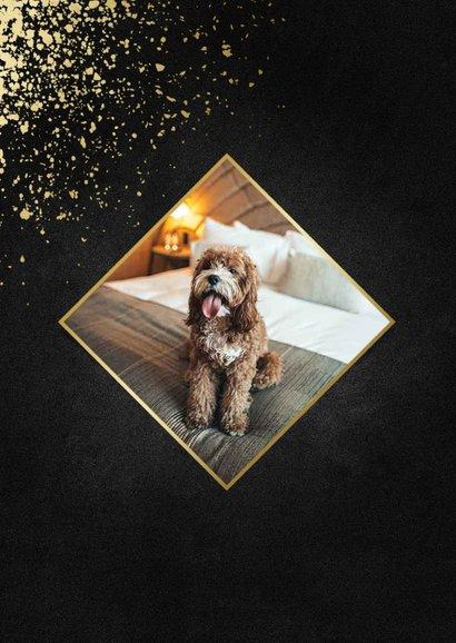 Nieuwjaarskaart met foto goudlook 2020 en spetters 2