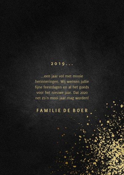 Nieuwjaarskaart met foto goudlook 2020 en spetters 3