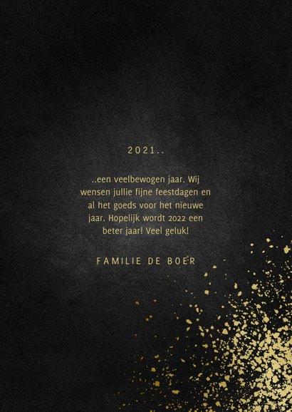 Nieuwjaarskaart met foto goudlook 2022 en spetters 3
