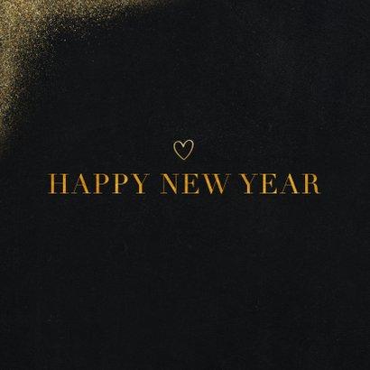 Nieuwjaarskaart met foto, goudlook en happy new year 2
