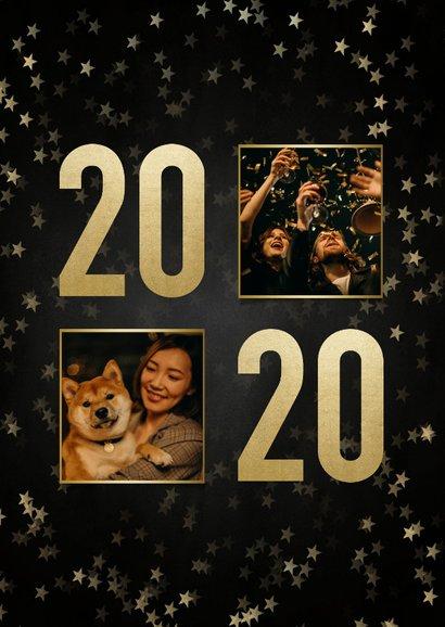 Nieuwjaarskaart met gouden 2020, sterren en fotocollage 2