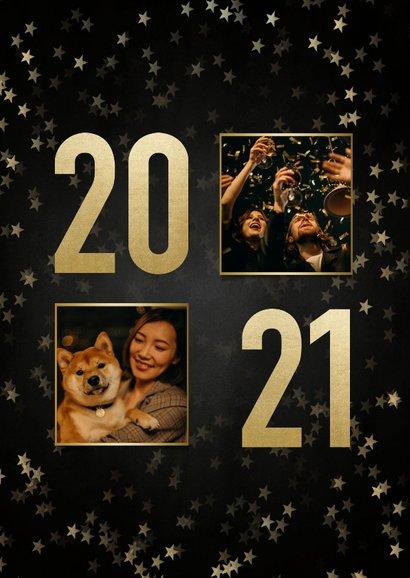 Nieuwjaarskaart met gouden 2021, sterren en fotocollage 2