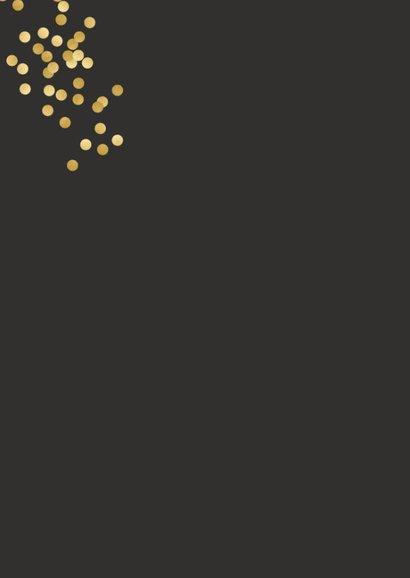 Nieuwjaarskaart met gouden confetti en evt. uitnodiging Achterkant