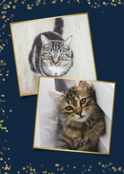 Nieuwjaarskaart met gouden pootafdrukjes en foto kat of hond 2