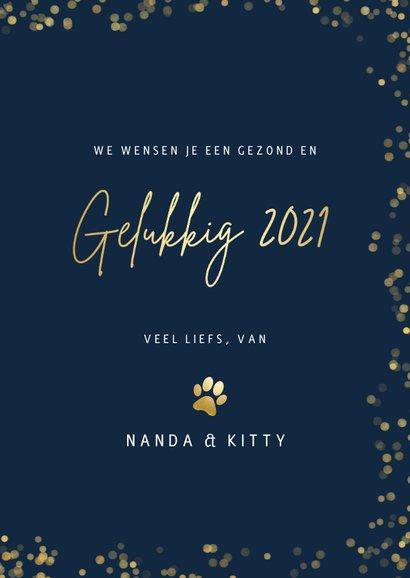 Nieuwjaarskaart met gouden pootafdrukjes en foto kat of hond 3