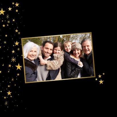 Nieuwjaarskaart met gouden sterren en 2019 fotocollage 2