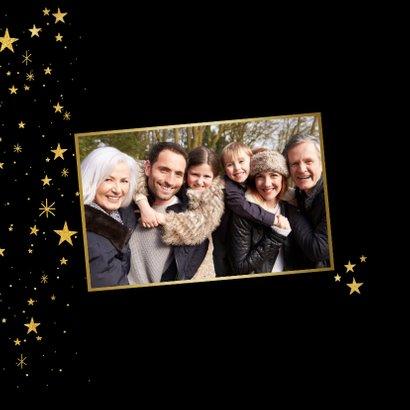 Nieuwjaarskaart met gouden sterren en 2021 fotocollage 2