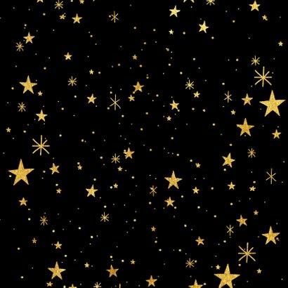 Nieuwjaarskaart met gouden sterren en 2021 fotocollage Achterkant