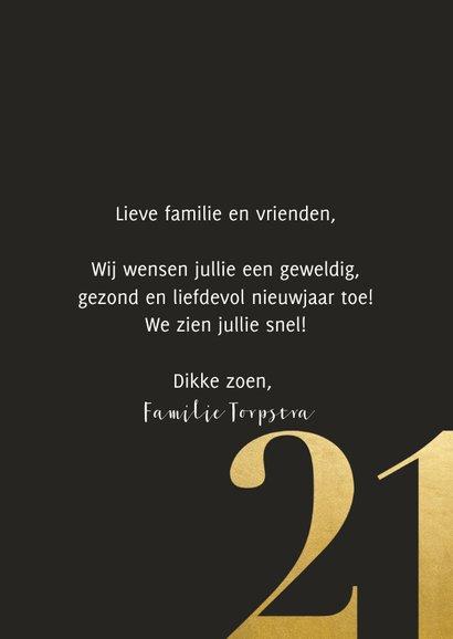 Nieuwjaarskaart met grote foto en gouden 2021 3