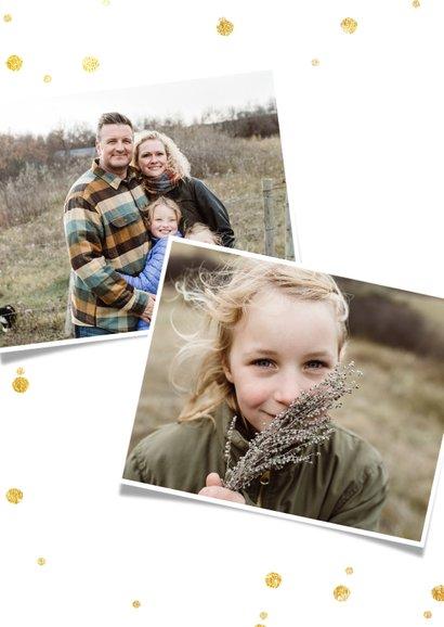 Nieuwjaarskaart met grote foto en wit met gouden confetti  2