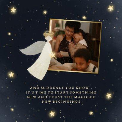Nieuwjaarskaart New Year Blessings met 2 engelen en sterren 2