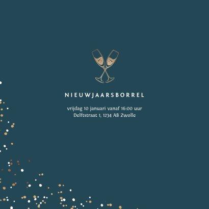 Nieuwjaarskaart nieuwjaarsborrel goudlook confetti zakelijk 2