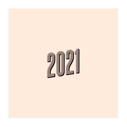 Nieuwjaarskaart retro 2021 happy new year Achterkant