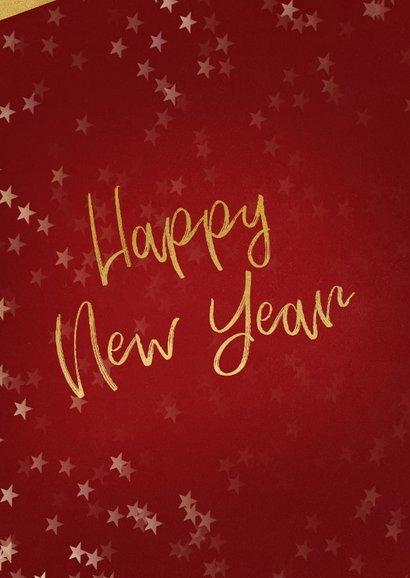 Nieuwjaarskaart rood en goud met foto 2