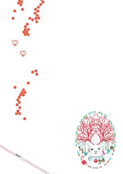 Nieuwjaarskaart rood met hert 2