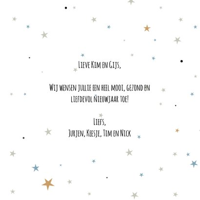 Nieuwjaarskaart sparkling gold 3