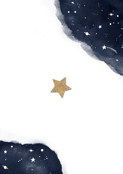 Nieuwjaarskaart sterren fotocollage goud waterverf Achterkant