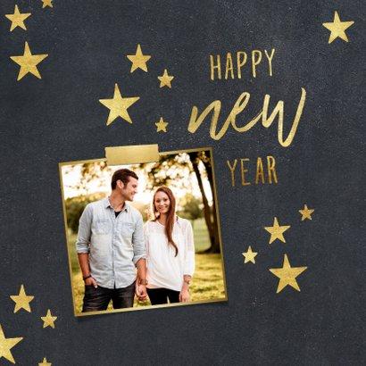Nieuwjaarskaart sterren krijtbord foto met tape 2