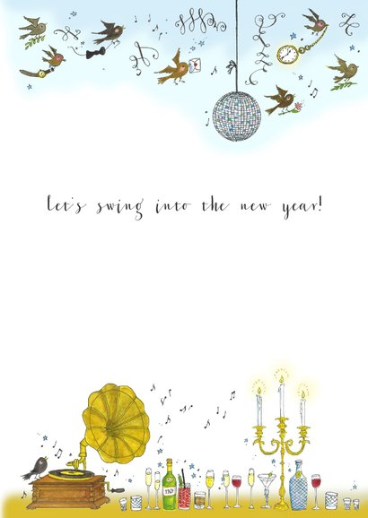 Nieuwjaarskaart Swing het nieuwe jaar in 3