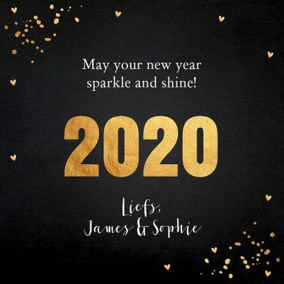 Nieuwjaarskaart typografie goud confetti 3